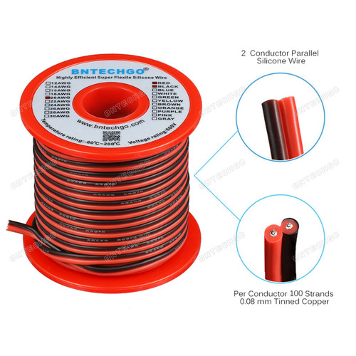 20 Gauge Flexible 2 Conductor Parallel Silicone Wire Spool Red Black