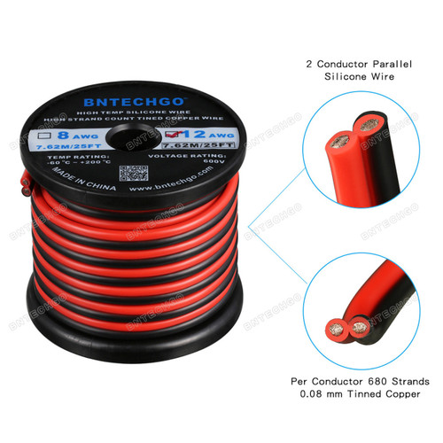 12 Gauge Flexible 2 Conductor Parallel Silicone Wire Spool Red Black