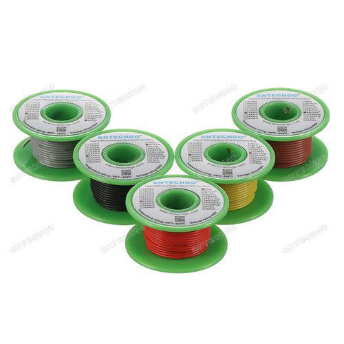 Ultra Flexible 24 Gauge Silicone Wire Spool 5 Color Red Black Yellow Brown Gray