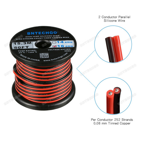 16 Gauge Flexible 2 Conductor Parallel Silicone Wire Spool Red Black