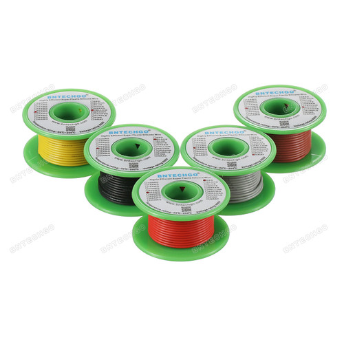 22 Gauge Silicone Wire Spool 5 Color Red Black Yellow Brown Gray