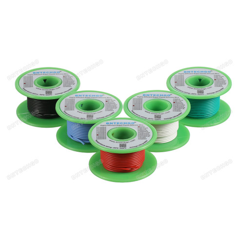 Ultra Flexible 24 Gauge Silicone Wire Spool 5 Color Red Black White Blue Green each of 30 ft