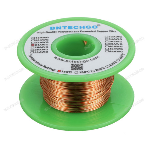 24 Gauge Enameled Magnet Wire is made of high quality copper