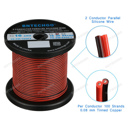 20 Gauge Flexible 2 Conductor Parallel Silicone Wire Spool 250ft Red Black