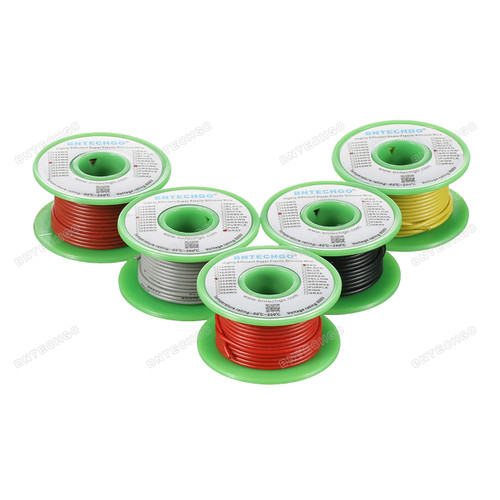 Ultra Flexible 20 Gauge Silicone Wire Spool 5 Color Red Black Yellow Brown Gray