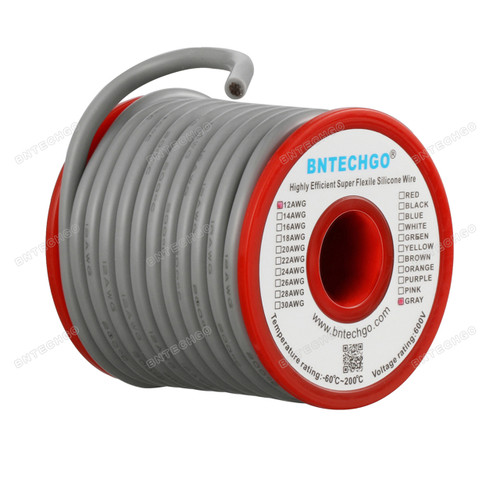 12 Gauge Silicone Wire Spool Gray 25 feet Ultra Flexible High Temp 200 deg C