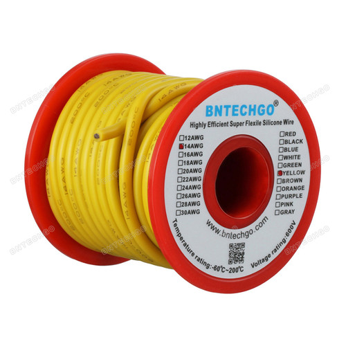 14 Gauge Silicone Wire Spool Yellow 25 feet Ultra Flexible