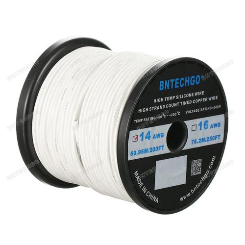 14 Gauge Silicone Wire Spool White 200 feet Ultra Flexible