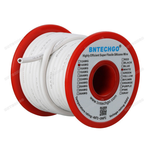 14 gauge silicone wire spool:White total 200 feet