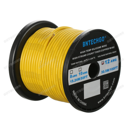 12 Gauge Silicone Wire Spool Yellow 100 feet Ultra Flexible High Temp 200 deg C