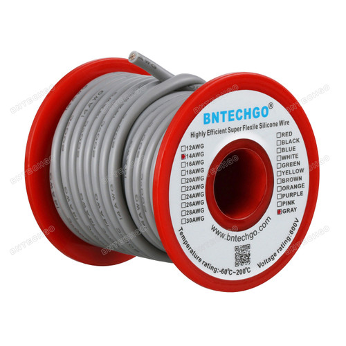 14 Gauge Silicone Wire Spool Gray 25 feet Ultra Flexible