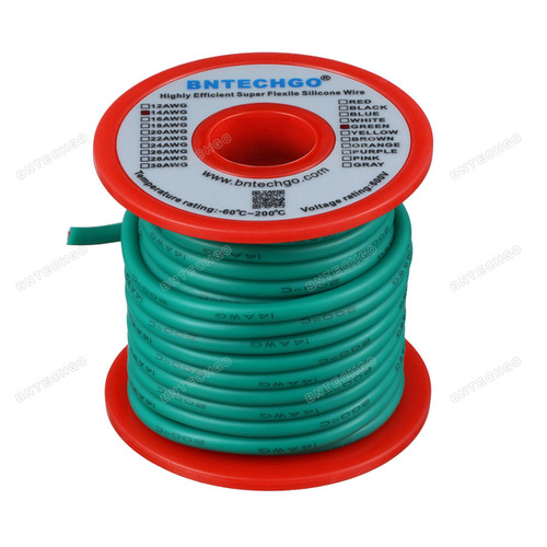 14 Gauge Silicone Wire 40 Feet Green Soft and Flexible