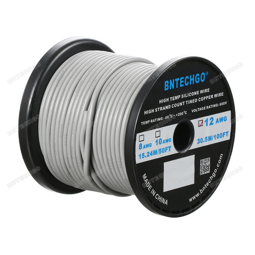 12 Gauge Silicone Wire Spool Gray 100 feet Ultra Flexible High Temp 200 deg C