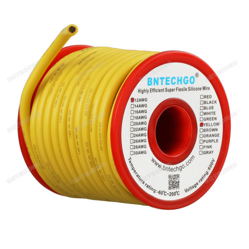 12 Gauge Silicone Wire Ultra Flexible Yellow 25 feet