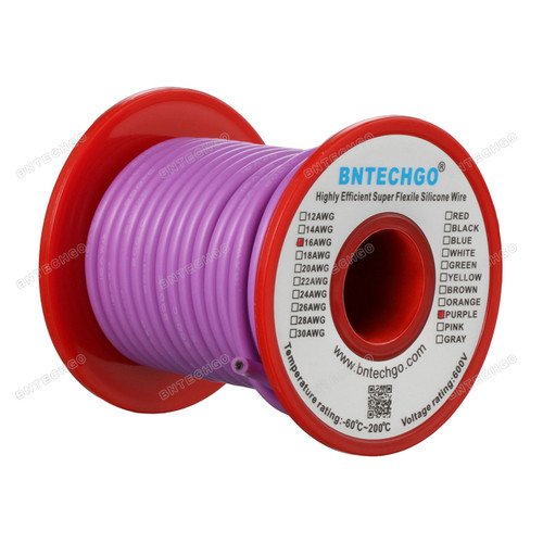 16 Gauge Silicone Wire Spool Purple 50 feet Ultra Flexible