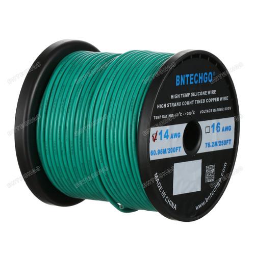 14 Gauge Silicone Wire Spool Green 200 feet Ultra Flexible