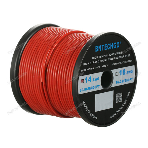 14 Gauge Silicone Wire Spool Red 200 feet Ultra Flexible
