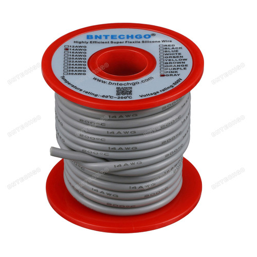 14 Gauge Silicone Wire 40 Feet Gray Soft and Flexible