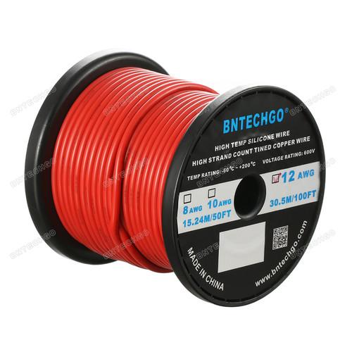 12 Gauge Silicone Wire Spool Red 100 feet Ultra Flexible High Temp 200 deg C