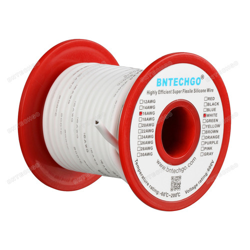 16 Gauge Silicone Wire Spool White 50 feet Ultra Flexible