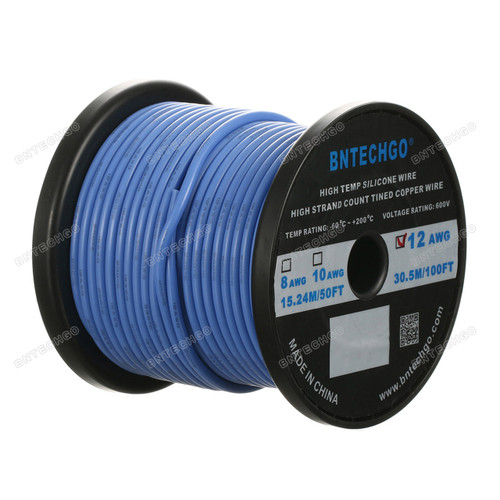 12 Gauge Silicone Wire Spool Blue 100 feet Ultra Flexible High Temp 200 deg C