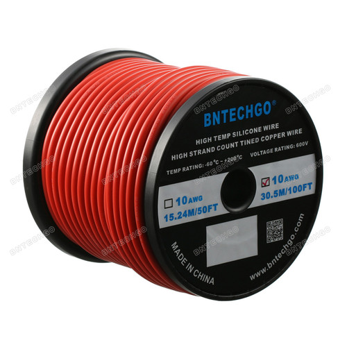 10 Gauge Silicone Wire Spool Red 100 feet Ultra Flexible High Temp 200 deg C