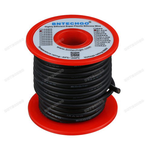 14 Gauge Silicone Wire 40 Feet Black Soft and Flexible