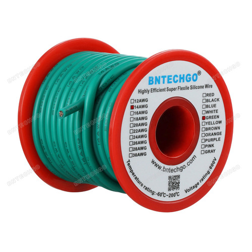 14 Gauge Silicone Wire Spool Green 25 feet Ultra Flexible