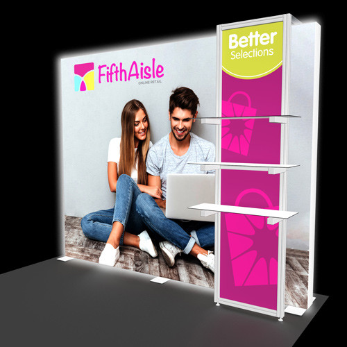 10 Foot Flare Backlit Display with Shelf Kiosk