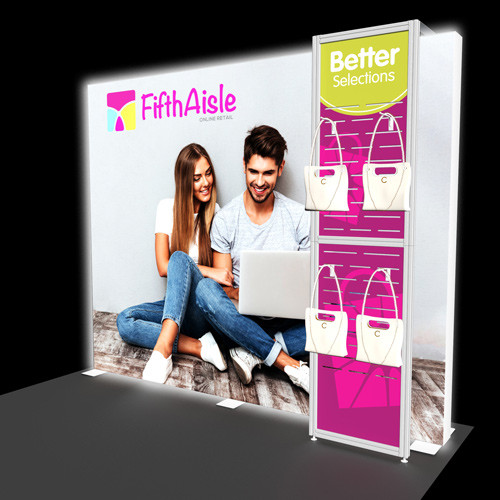 10 Foot Flare Backlit Display with Slatwall Kiosk