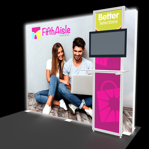 10 Foot Flare Backlit Display with Shelf Kiosk and Monitor Mount