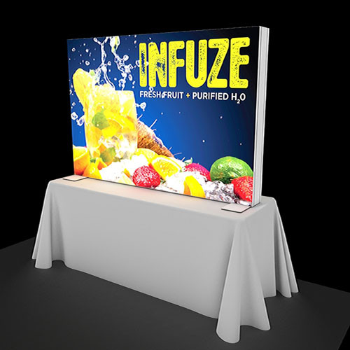 6 Foot Flare Backlit Table Top Display