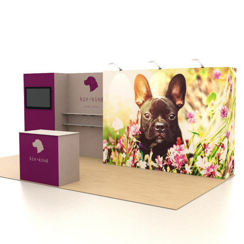 10' x 20' Knockout Exhibit with Shelving and Monitor - Kit 07 (FanFav)