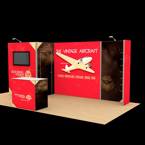 10' x 20' Knockout Backlit Exhibit with Monitor Area - Kit 08 (FanFav)