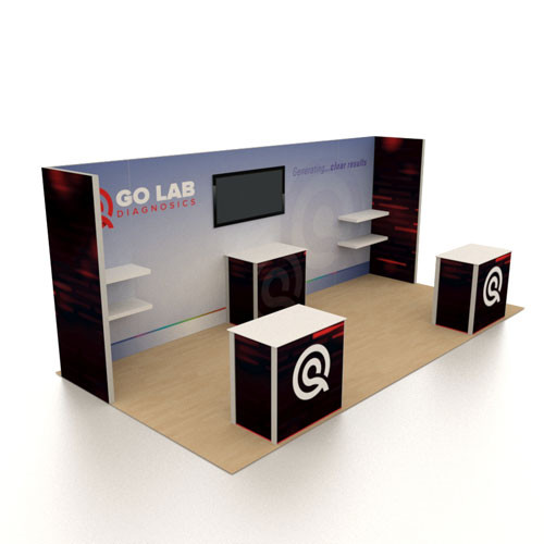 10' x 20' Rental Display with Three Counters - Kit 02