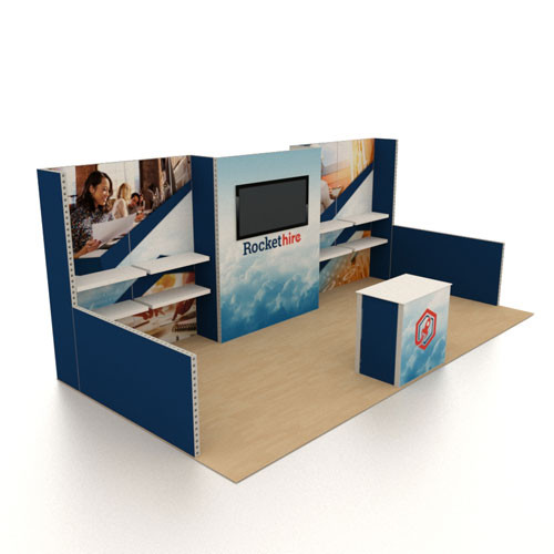 10' x 20' Rental Display with Centered Monitor and Side Shelving - Kit 05 (FanFav)