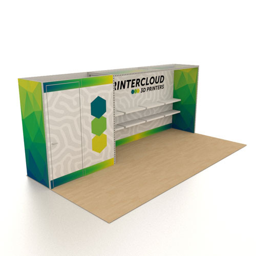 10' x 20' Rental Display with Shelves and Storage Closet - Kit 06