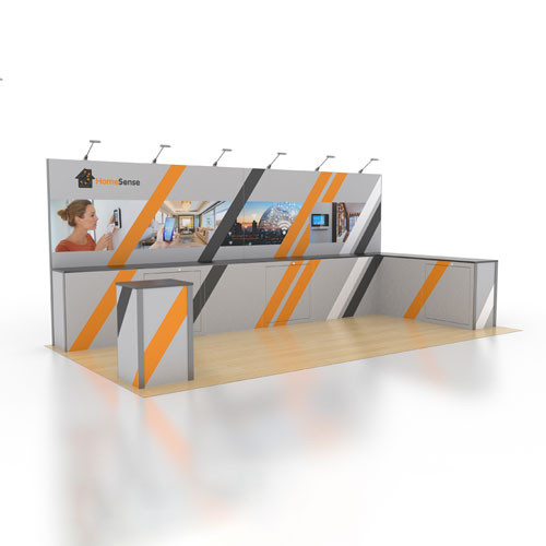10' x 20' Rental Display Lined with Counters - Kit 11