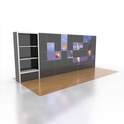 10' x 20' Rental Display Shelves and LED Video Wall - Kit 19