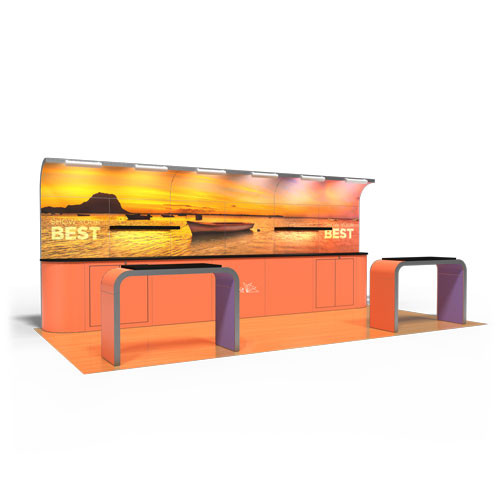 10' x 20' Rental Display with Curved Header and Arch Counters - Kit 26