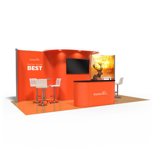 10' x 20' Rental Display with Rounded Canopy and Monitor - Kit 28