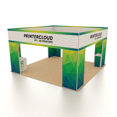 20' x 20' Rental Display with Square Overhead Banner - Kit 03
