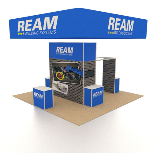 20' x 20' Rental Display with Large Square Hanging Sign - Kit 06