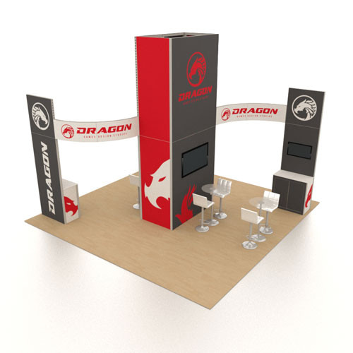 20' x 20' Rental Display with Curved Header Signs - Kit 07 (FanFav)