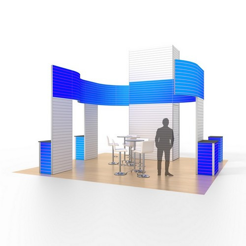 20' x 20' Rental Display with Tower and Curved Banners - Kit 13