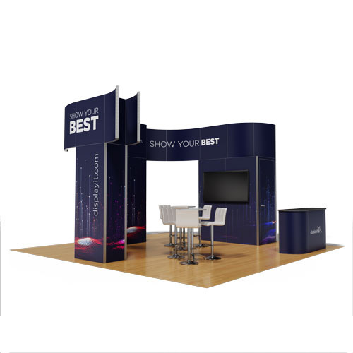 20' x 20' Rental Display with Storage Closet and T-Shaped Banner- Kit 18