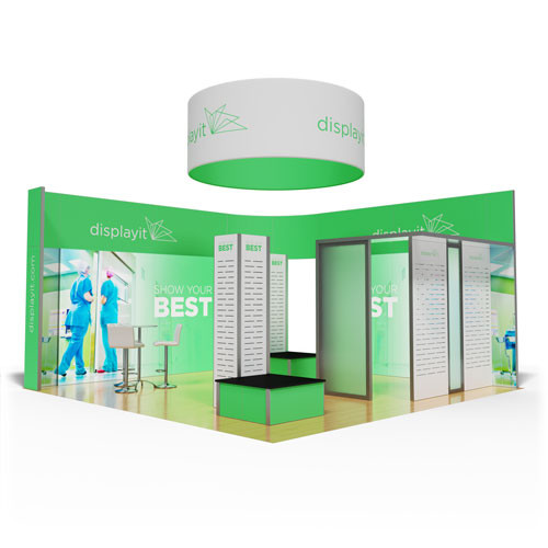 20' x 20' Rental Display with Slatwall and Product Stands - Kit 20