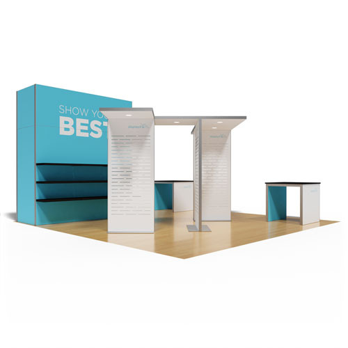 20' x 20' Rental Display with Storage Closet, Shelving, and Product Stands - Kit 21