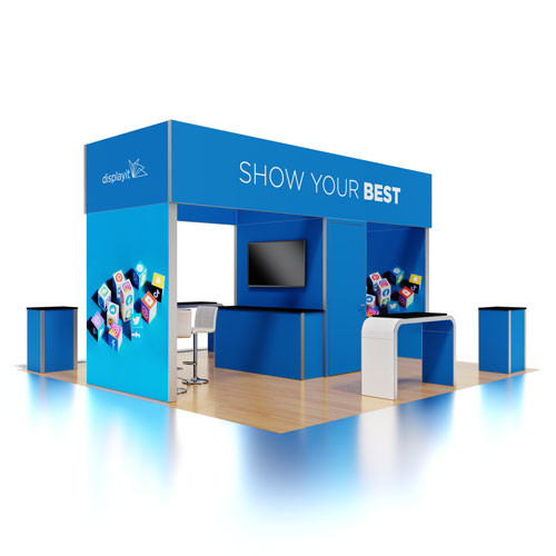 20' x 20' Rental Display with Overhead Structure and Presentation Area - Kit 22