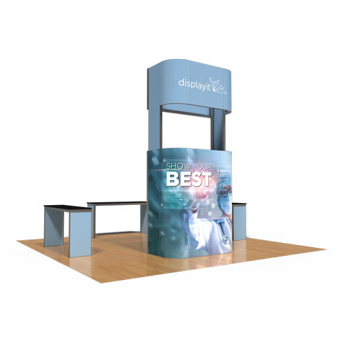 20' x 20' Rental Display with Rounded-Corner Tower - Kit 26